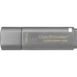 Kingston 16GB DataTraveler Locker+ G3 USB 3.0 Flash Drive - 16 GB - Silver - 1 Pack - Encryption Support, Password Protection, Drop Proof DTLPG3/16GB