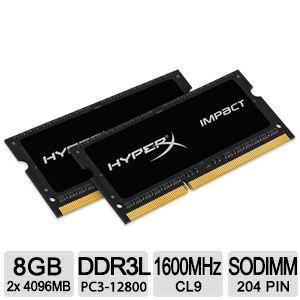 Kingston HyperX Impact SODIMM - 8GB Kit* (2x4GB) - DDR3L 1600MHz - 8 GB (2 x 4 GB) - DDR3 SDRAM - 1600 MHz DDR3-1600/PC3-12800 - 1.35 V - Non-ECC - Unbuffered - 204-pin - SoDIMM HX316LS9IBK2/8