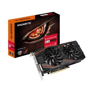 GIGABYTE Radeon RX 580 Gaming 4G Video Card - 4GB 256-bit GDDR5 - PCI Express 3.0 x16 - 1355MHz OC Mode Core Clock - CrossFire Ready - DirectX 12 - WINDFORCE 2X 90mm Fans - DL-DVI-D - HDMI - 3x Displa