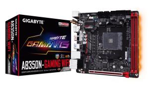 GIGABYTE GA-AB350N-Gaming WIFI Mini-ITX Motherboard - Socket AM4 - AMD B350 Chipset - Supports DDR4-3200 (OC) - 1x PCIe 3.0 x16 - 1x M.2 Socket3 - DisplayPort 1.2 - HDMI 1.4 - USB 3.1 Gen2 Type-A - Gi