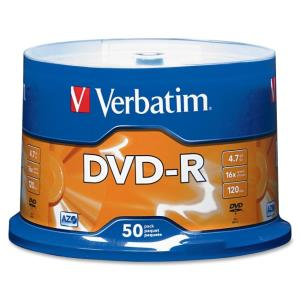 DVD Verbatim 95101 - DVD-R - 16x - 4,70 Go - Pack de 50 - Spindle - Temps Maximum d'Enregistrement 2 Heure(s)
