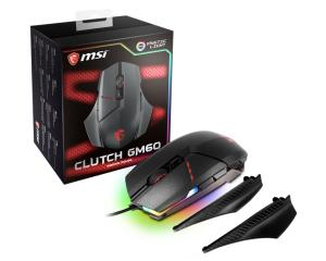 MSI Clutch GM60 Wired Gaming Mouse - Customizable Ergonomics - 10800 DPI Avago PMW3330 Optical Gaming Sensor - RGB Mystic Light - 3000Hz Polling Rate (CLUTCH GM60)
