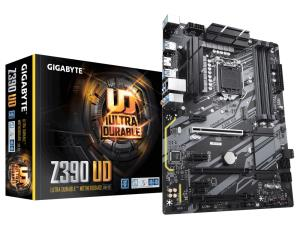 Gigabyte Ultra Durable Z390 UD Desktop Motherboard - Intel Chipset - Socket H4 LGA-1151 - 64 GB DDR4 SDRAM Maximum RAM - UDIMM, DIMM - 4 x Memory Slots - Gigabit Ethernet - 6 x USB 3.1 Port - HDMI - 6