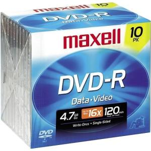 maxell 4.7GB 16X DVD-R 10 Packs Disc Model 638004 - Retail