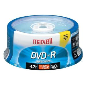 maxell 4.7GB 16X DVD-R 25 Packs Disc Model 638010 - Retail