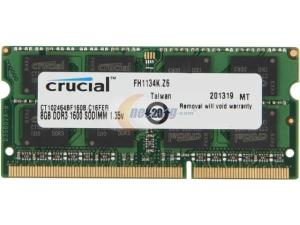 Crucial CT102464BF160B PC3-12800 8GB DDR3L-1600 CL11 1.35V SODIMM 204PIN Single Memory Module
