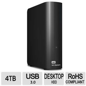 WD Elements 4TB Desktop External Hard Drive USB 3.0 Black (WDBWLG0040HBK-NESN)