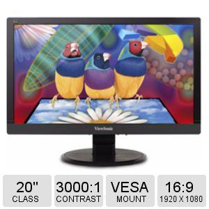 "Viewsonic Value VA2055Sm 20"" LED LCD Monitor - 16:9 - 25 ms - 1920 x 1080 - 16.7 Million Colors - 250 Nit - 3,000:1 - Full HD - Speakers - DVI - VGA - 35 W - ENERGY STAR, EPEAT Silver, RoHS, TÜV"