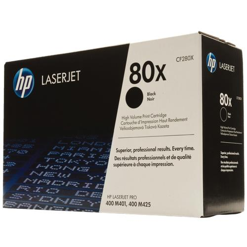 HP 80X Black Toner Cartridge Large Capacity for LaserJet Pro M401/M425 Up to 6 900 Pages CF280X