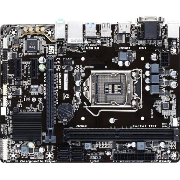 Gigabyte Ultra Durable GA-H110M-S2H GSM Desktop Motherboard - Intel Chipset - Socket H4 LGA-1151 - Micro ATX - 1 x Processor Support - 32 GB DDR4 SDRAM Maximum RAM - 2.13 GHz Memory Speed Supported