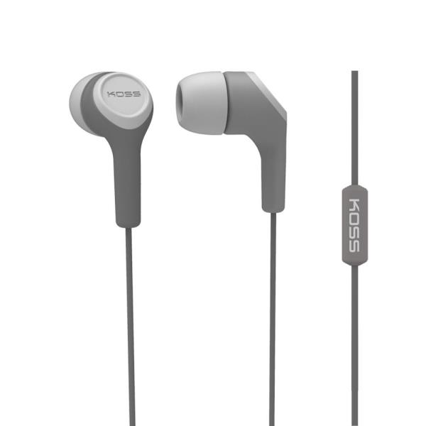 Koss KEB15i In-Ear Wired Stereo Headphones - Gray - Wired - 16 Ohm - 18 Hz 20 kHz - Earbud - Binaural - In-ear - 4 ft Cable 187212
