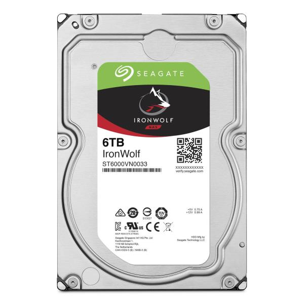 Seagate IronWolf ST6000VN0033 - Disque dur - 6 To - interne - 3.5'' - SATA 6Gb/s - 7200 tours/min - mémoire tampon : 256 Mo a9933090