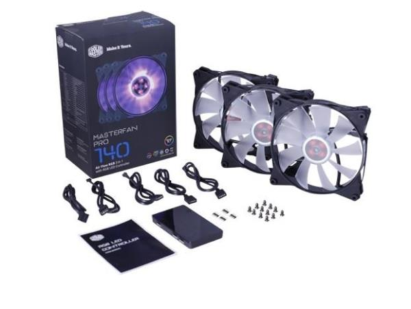 Cooler Master MasterFan Pro 140 Air Flow RGB 3 in 1 with RGB LED Controller - 500-800 RPM±10% - 53 CFM±10% - 6-20 dBA (MFY-F4DC-083PC-R1)