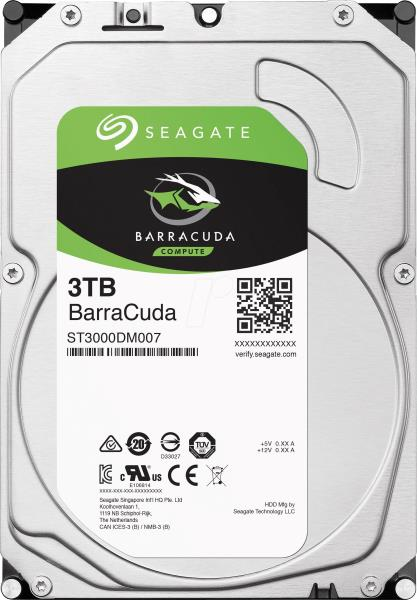 "Seagate Barracuda ST3000DM007 3 TB Hard Drive - SATA (SATA/600) - 3.5"" Drive - Internal - 5400rpm - 256 MB Buffer - 2 Year Warranty"