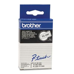"Brother P-Touch TC291 Laminated Tape - 23/64"" Width x 24 39/64 ft Length - 1 Each - White"