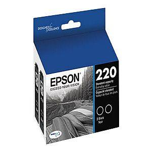 Brand New Original EPSON T220120-D2 (220) INK / INKJET Cartridge Black Dual Pack OEM-T220120-D2