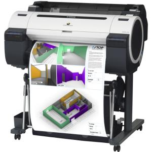 "Canon imagePROGRAF iPF670 Inkjet Large Format Printer - 24"" Print Width - Color - 5 Color(s) - 28 Second Color Speed - 2400 x 1200 dpi - 256 MB - USB - Ethernet - Plain Paper, Cut Sheet, Roll Paper, B"