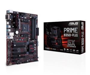 ASUS PRIME B350-PLUS ATX Motherboard - Socket AM4 - AMD B350 Chipset - Supports DDR4-3200+(OC) - 2x PCIe 3.0 x16 - 1x PCIe 2.0 x16 - CrossFire X Ready - M.2 Socket3 - VGA - DVI-D - HDMI 1.4b - USB 3.1