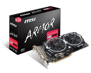 MSI Radeon RX 580 ARMOR 8G OC Video Card - 8GB 256-bit GDDR5 - PCI Express 3.0 x16 - 1366MHz Boost Core Clock - CrossFire Ready - DirectX 12 - Dual TORX Fans - DL-DVI-D - 2x HDMI - 2x DisplayPort - MI
