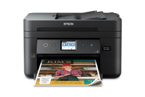 "Epson WorkForce WF-2860 All-in-One Color Inkjet Printer - 2.4"" Color Touchscreen - 150 Sheets Capacity - up to 11 ppm Copying - up to 14 ppm Printing - USB 2.0 - LAN - Wi-Fi Direct - NFC (C11CG28201)"