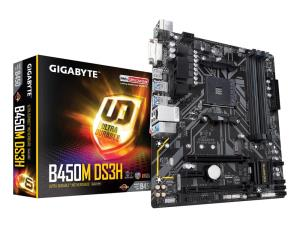 GIGABYTE B450M DS3H Socket AM4 - Dual Channel DDR4 3200(OC), M.2 - USB 3.1, DVI-D, HDMI, Micro ATX Mothrtboard