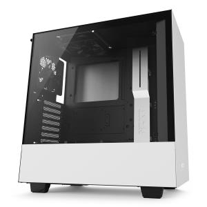 NZXT H500 ATX Mid Tower Computer Case - Tempered Glass Panel - 1x Aer F120 120mm Top Fan - 1x Aer F120 120mm Rear Fan - 2x USB 3.1 Gen1 - 1x Audio/Mic - Adjustable Cable Management Bar - Removable Rad