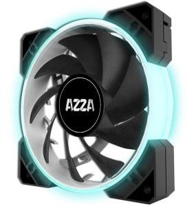 AZZA HURRICANE RGB LITE 120mm Case Fan (3 Pack) + RF Remote - Black - 7 Adjustable Colors - 1500 RPM - Sleeve Bearing - 3-Pin Connector - Sync with RGB-compatible Motherboards (FNAZ-12RGB-B-2320)