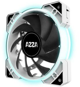 AZZA HURRICANE RGB LITE 120mm Case Fan (3 Pack) + RF Remote - White - 7 Adjustable Colors - 1500 RPM - Sleeve Bearing - 3-Pin Connector - Sync with RGB-compatible Motherboards (FNAZ-12RGB-W-232)