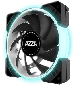 AZZA HURRICANE RGB 120mm Case Fan (3 Pack) + LUMI Box - Black - RGB 16.8M Adjustable Colors - 800-1800 RPM - Fluid Dynamic Bearing - 4-Pin PWM Connector - Sync with RGB-compatible Motherboards (FNAZ-1