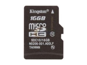 Kingston 16GB Micro SDHC Flash Card Single Pack w/o Adapter Model SDC10/16GBSP - Retail