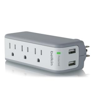 Belkin BST300BG 360 Travel 3 Outlet Surge Protector With 2 USB Charging Ports