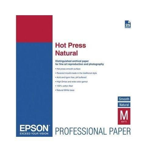 Epson Fine Art Hot Press Natural - Two-sided smooth matte cotton rag paper - 17 mil Super B (13 in x 19 in) - 330 g/m2 - 25 sheet(s) - for Stylus Pro 11880, Pro 38XX; SureColor SC-T3000, T3200, T5000,