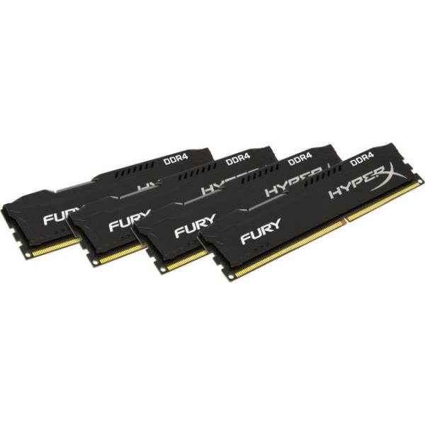 Kingston HyperX FURY Memory Black - 16GB Kit (4x4GB) - DDR4 2666MHz - 16 GB (4 x 4 GB) - DDR4 SDRAM - 2666 MHz - 1.20 V - Non-ECC - Unbuffered - 288-pin - DIMM HX426C15FBK4/16