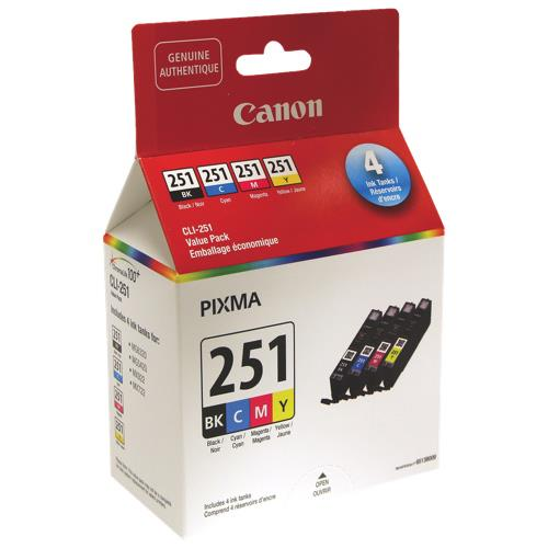 Canon Genuine CLI-251 BK,C,M,Y Ink Value Pack - 6513B009
