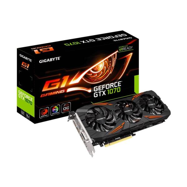 GIGABYTE GeForce GTX 1070 G1 Gaming Video Card - 8GB 256-bit GDDR5 - PCI Express 3.0 x16 - 1620 MHz OC Mode Boost Core Clock - WINDFORCE 3X Cooling - RGB Lighting - VR Ready - SLI Ready - DVI-D - HDMI