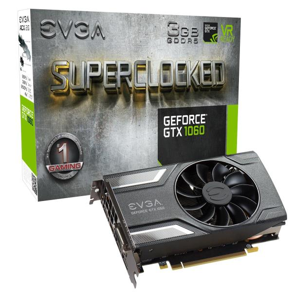 EVGA GeForce GTX 1060 Graphic Card - 1.61 GHz Core - 1.84 GHz Boost Clock - 3 GB GDDR5 - PCI Express 3.0 x16 - Dual Slot Space Required - 192 bit Bus Width - Fan Cooler - OpenGL 4.5, DirectX 12 - 3 x