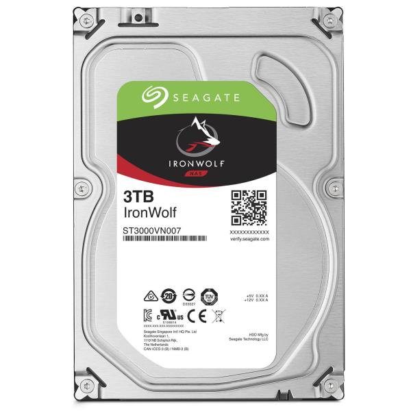 "Seagate IronWolf ST3000VN007 3 TB Hard Drive - SATA (SATA/600) - 3.5"" Drive - Internal - 5900rpm - 64 MB Buffer - 3 Year Warranty"