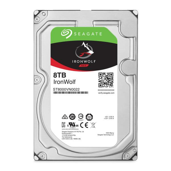 "Seagate IronWolf NAS 8TB 3.5"" Internal Hard Drive - SATA 6.0Gb/s - 7200 rpm - 256 MB Cache - AgileArray NAS-Optimization - Multi-User Technology (ST8000VN0022)"