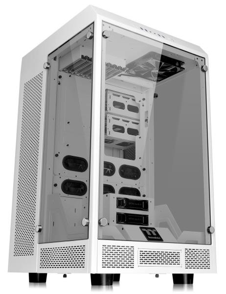 Thermaltake The Tower 900 Snow Edition E-ATX Vertical Super Tower Gaming PC Case - 5mm Thick Tempered Glasss Panels - Dismantlable Modular Design - Liquid Cooling Ready - 4x USB 3.0 - HD Audio - 2x 14