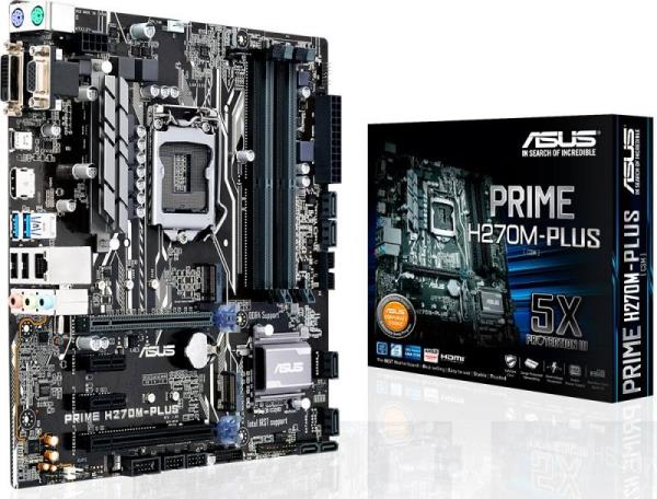Asus PRIME H270M-PLUS/CSM Desktop Motherboard - Intel H270 Chipset - Socket H4 LGA-1151 - Micro ATX - 1 x Processor Support - 64 GB DDR4 SDRAM Maximum RAM - 2.40 GHz, 2.13 GHz Memory Speed Supported