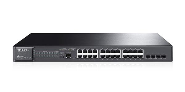 TP-LINK JetStream 24-Port Gigabit L2 Managed PoE+ Switch with 4 SFP Slots - 24 Ports - Manageable - 4 x Expansion Slots - 10/100/1000Base-T, 1000Base-X - Modular - 24 x Network, 4 x Expansion Slot - T