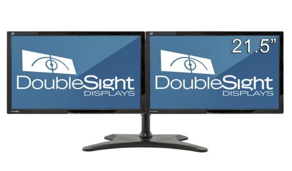 "DoubleSight Displays DS-2200WB 21.5"" LED LCD Monitor - 16:9 - 5 ms - 1920 x 1080 - 16.7 Million Colors - 250 Nit - 1,000:1 - Full HD - Speakers - DVI - VGA - 50 W - Piano Black"