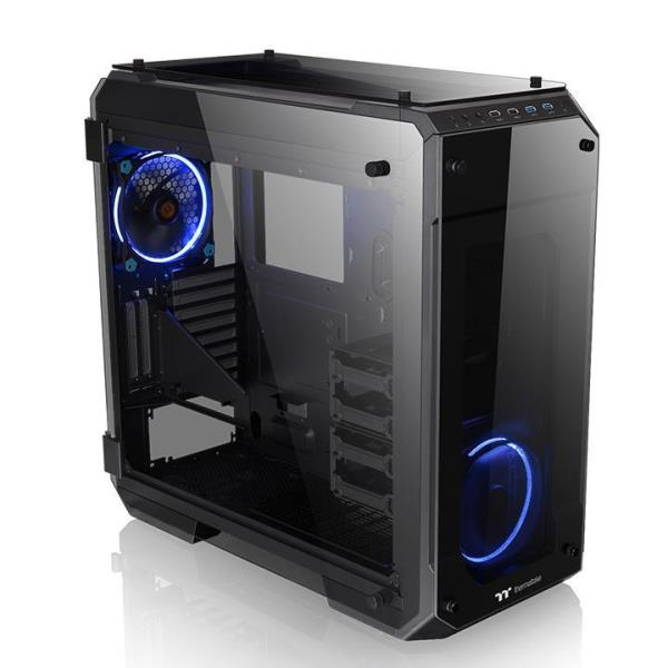 Thermaltake View 71 Tempered Glass Edition E-ATX Full Tower Computer Case - Four-Sided 5mm Thick Tempered Glass Panels with Swing Door Design - Riser GPU Support Bracket - 1x 140mm Riing Blue Front Fa