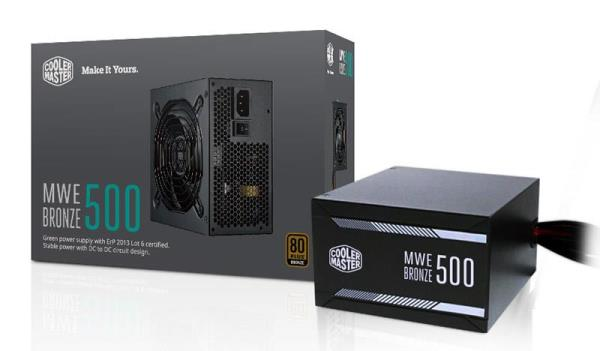 Cooler Master MWE Bronze Series 500W ATX Power Supply - 80 PLUS Bronze Certified - Intel ATX 12V V2.31 - DC-DC Circuit Design - Active PFC - 120mm Silencio FP Fan - 2x 6+2 PCI-E Connectors (MPX-5001-A