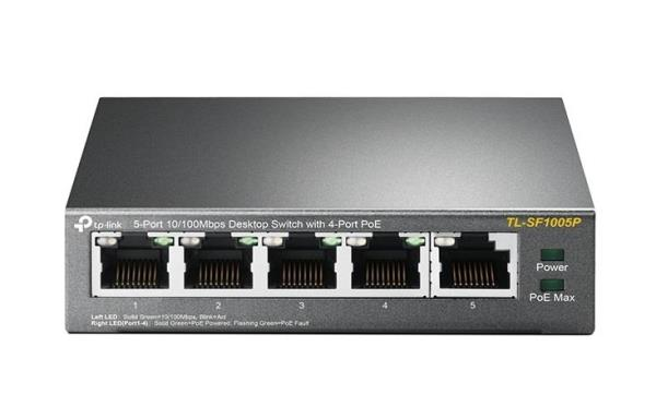 TP-LINK 5-Port 10/100Mbps Desktop Switch with 4-Port PoE - 5 x Fast Ethernet Network - Twisted Pair - 2 Layer Supported - Desktop - 5 Year Limited Warranty TL-SF1005P
