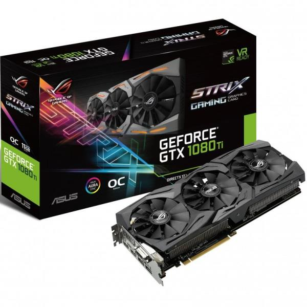 ASUS ROG Strix GeForce GTX 1080 Ti OC Edition Video Card - 11GB 352-bit GDDR5X - PCI Express 3.0 x16 - 1708MHz OC Mode Boost Core Clock - VR Ready - SLI Ready - DVI-D - 2x HDMI 2.0 - 2x DisplayPort 1.