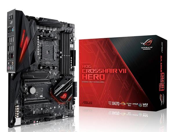 ASUS ROG CROSSHAIR VII HERO ATX Motherboard - Socket AM4 - AMD X470 Chipset - Supports DDR4-3600(OC) - 2x PCIe 3.0 x16 - 1x PCIe 2.0 x4 - 2x PCIe 2.0 x1 - SLI / CrossFireX Ready - 2x M.2 Socket3 - USB