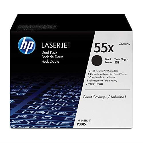 HP 55X (CE255XD) High Yield Black Original Toner, 2 Cartridges
