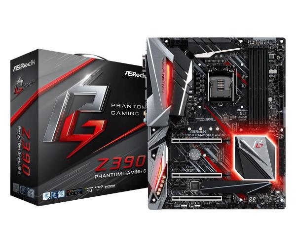 ASRock Z390 Phantom Gaming 6 ATX Motherboard - Socket LGA 1151 - Intel Z390 Chipset - Support DDR4-4300+(OC) - 3x PCIe 3.0 x16 - 3x PCIe 3.0 x1 - M.2 Key-E - 2x M.2 Socket3 - USB 3.1 Gen2 Type-C+A - H