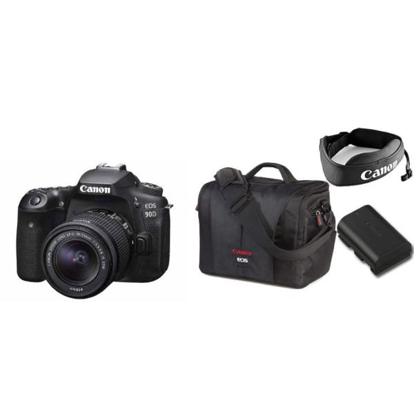 Canon EOS 90D with 18-55 IS STM Lens and Canon EOS Advance Series Accessory Kit Package 3616C009